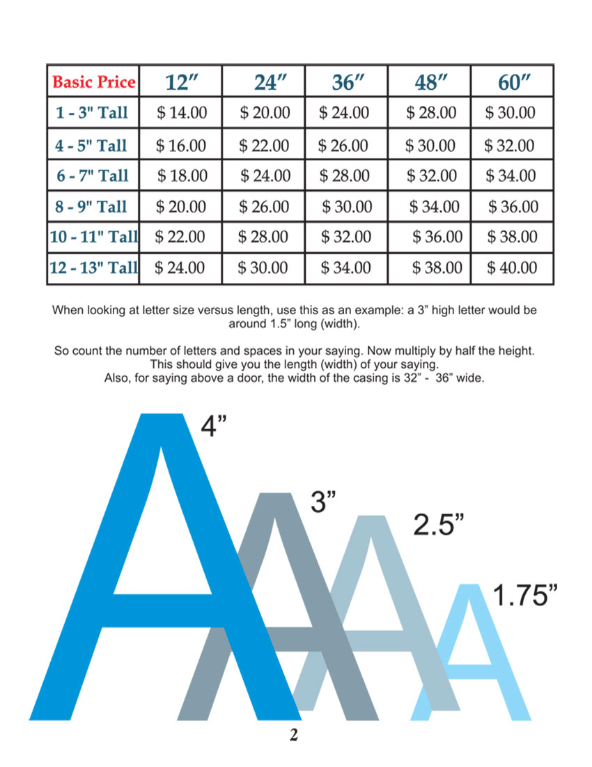 pricing wall designs vinyl decals