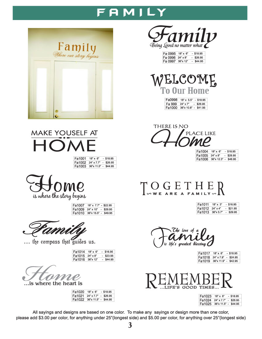 Family sayings, wall designs vinyl