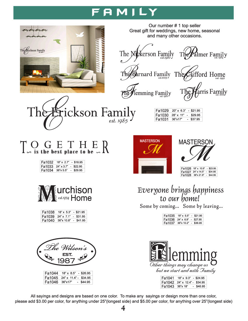 family sayings vinyl wall designs