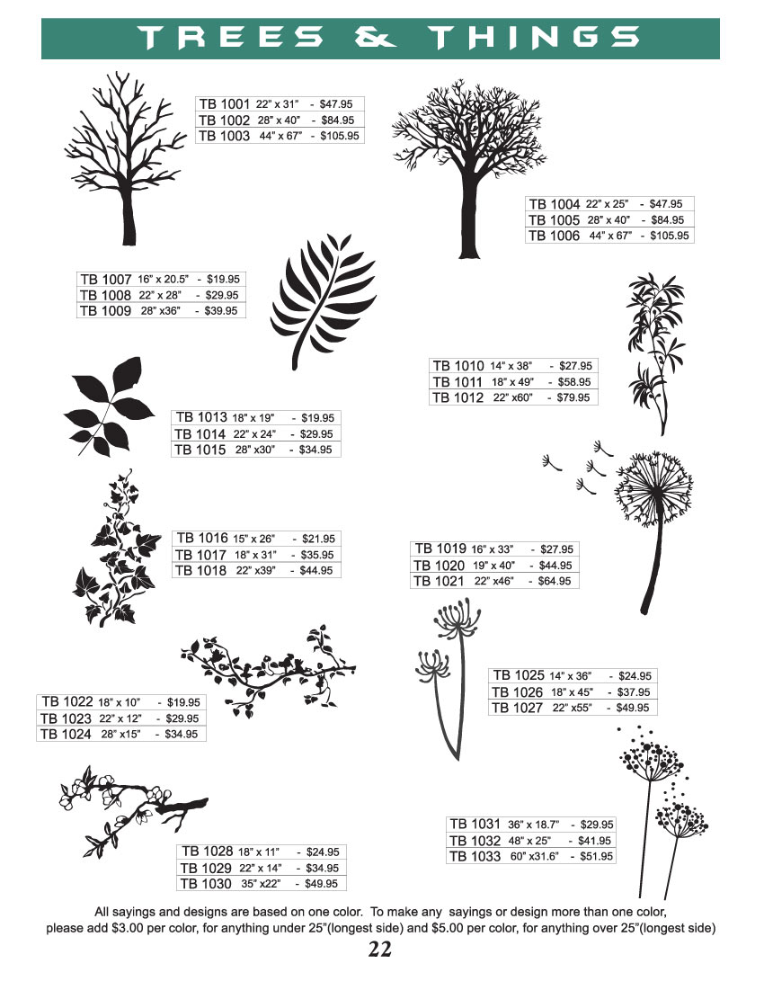 trees and vines vinyl wall designs